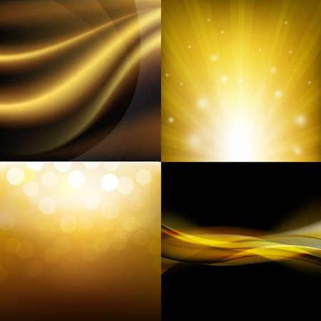 gradient mesh: Luxury Golden Backgrounds Set With Gradient Mesh