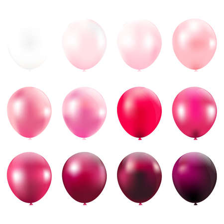 pink balloons: Pink Balloons Card With Gradient Mesh