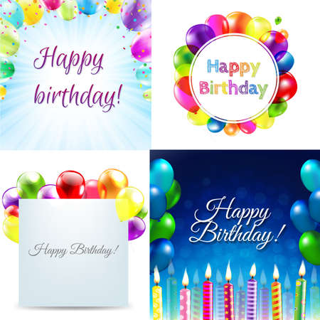 spot lit: Color Birthday Cards Design Template Balloon Illustration With Gradient Mesh, Vector Illustration