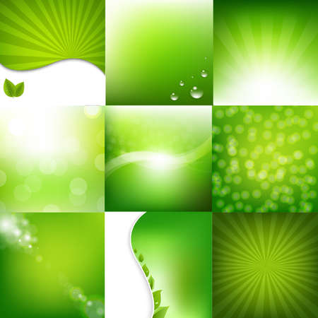 lime green background: Eco Green Posters Set With Gradient Mesh, Vector Illustration