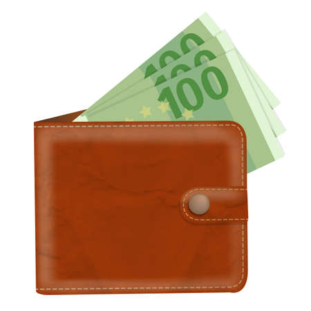 notecase: Wallet With Banknotes With Gradient Mesh, Vector Illustration