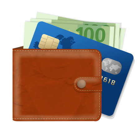 notecase: Wallet With Credit Card And Money With Gradient Mesh, Vector Illustration