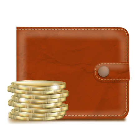 notecase: Wallet With Money With Gradient Mesh, Vector Illustration
