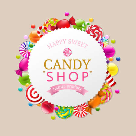 Candy Background With Gradient Mesh, Vector Illustration Ilustração