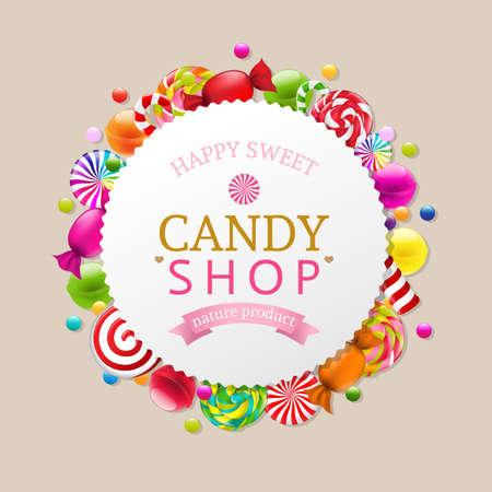 candies: Fondo del caramelo con malla de degradado, ilustración vectorial Vectores