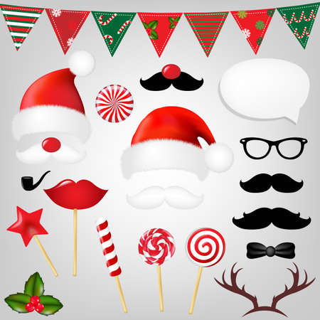 red beard: Christmas Hipster Set With Gradient Mesh, Vector Illustration