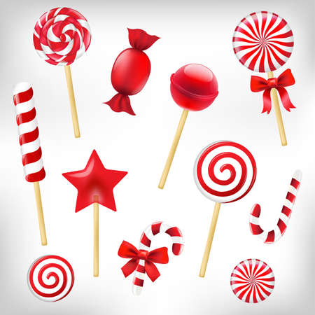 Candy Set With Gradient Mesh, Vector Illustration