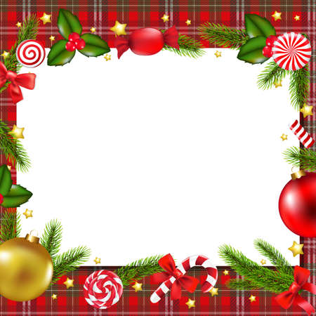 furtree: Christmas Postcard With Gradient Mesh, Vector Illustration