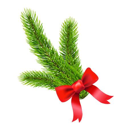 fir tree: Fir Tree Branch With Gradient Mesh, Vector Illustration