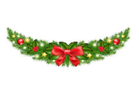 christmas garland: Xmas Garland With Gradient Mesh, Vector Illustration Illustration