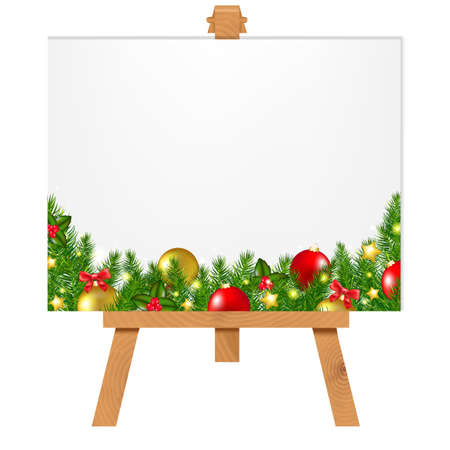 mocked: Banner With Christmas Border With Gradient Mesh, Vector Illustration