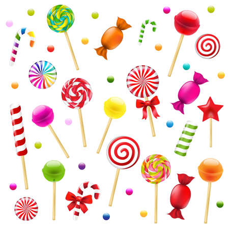 golosinas: Gran caramelo conjunto con malla de degradado, ilustración vectorial Vectores