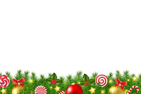bordes decorativos: Navidad Frontera Con malla de degradado, ilustración vectorial