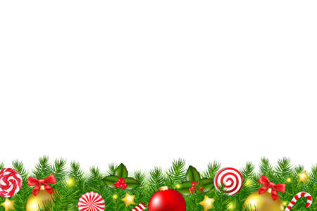 decorated christmas tree: Xmas Border With Gradient Mesh, Vector Illustration