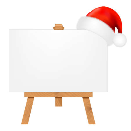 mocked: Banner With Santa Claus Cap With Gradient Mesh, Vector Illustration