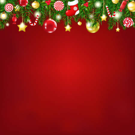 Christmas Composition With Gradient Mesh, Vector illustration