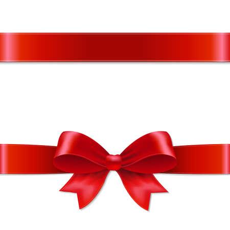 Red Bow S mřížky, vektorové ilustrace