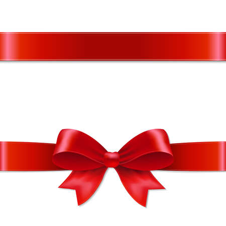 gift ribbon: Red Bow With Gradient Mesh, Vector illustration