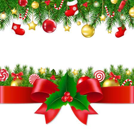 cristmas card: Xmas Borders With Gradient Mesh, Vector illustration Illustration
