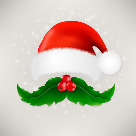 moustaches: Christmas Card With Moustaches And Santa Claus Cap With Gradient Mesh, Vector illustration