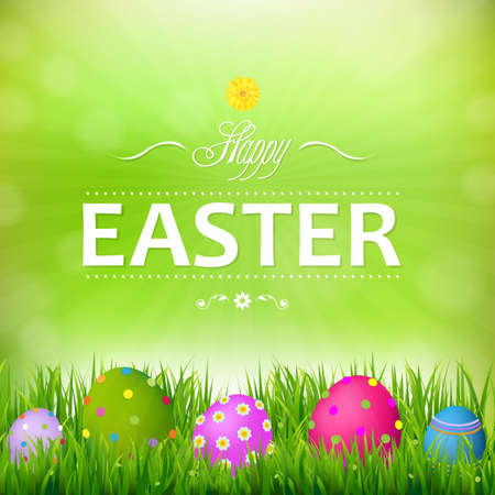 hid: Happy Easter Card With Gradient Mesh, Vector Illustration