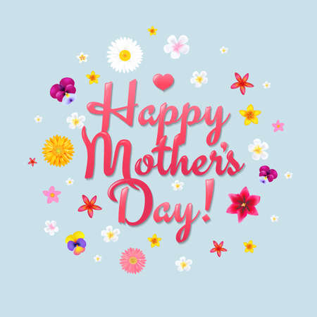 Happy Mothers Day Postcard With Gradient Mesh, Illustration