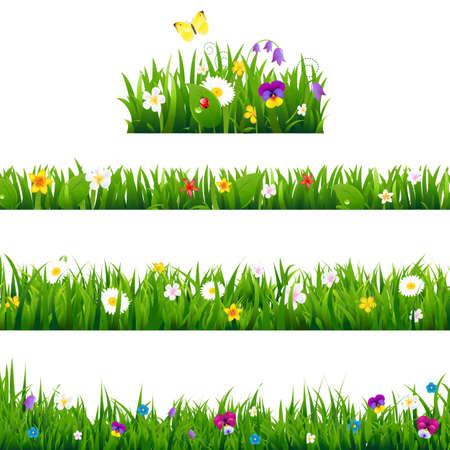 Grote Reeks bloemen Borders met verloopnet, Illustratie