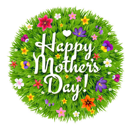 grass flowers: Happy Mothers Day Card With Gradient Mesh, Illustration