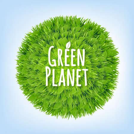 planeta verde: Planeta verde con malla de degradado, Ilustración Vectores