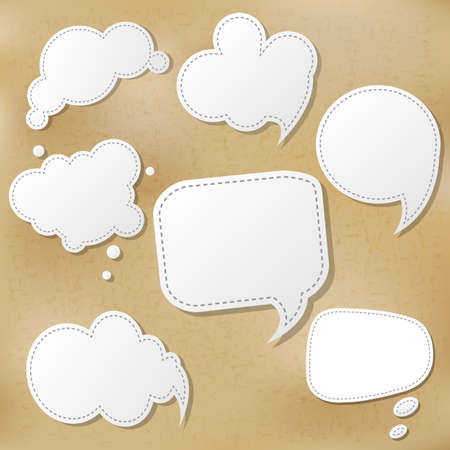 Retro Speech Bubble Set With Gradient Mesh, Illustration Illustration