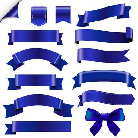 Big Blue Ribbons Set With Gradient Mesh, Illustration