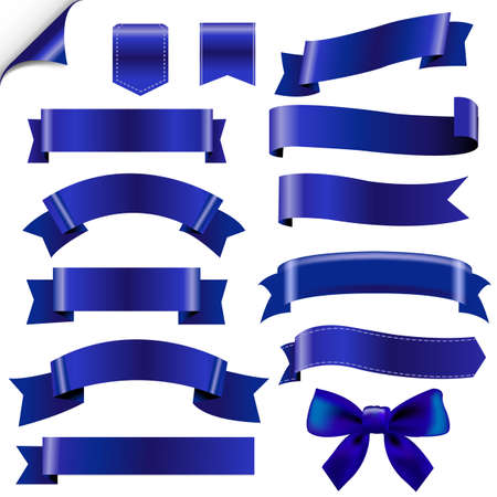 Big Blue Ribbons Set With Gradient Mesh, Illustration