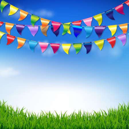 grass sky: Bunting Birthday Flags With Sky And Grass Border With Gradient Mesh, Illustration