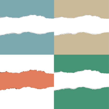 Rasgado de color Conjunto de papel con malla de degradado, Ilustración