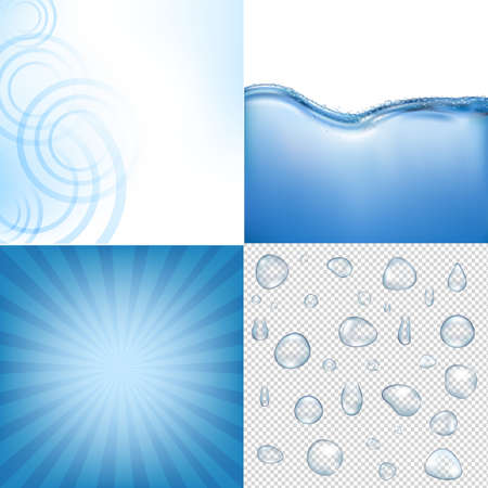 ripple effect: Blue Water Backgrounds Set With Gradient Mesh, Illustration Illustration