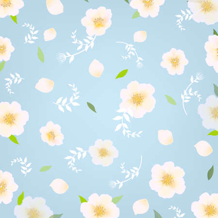 Flowers Background With Gradient Mesh, Vector Illustration