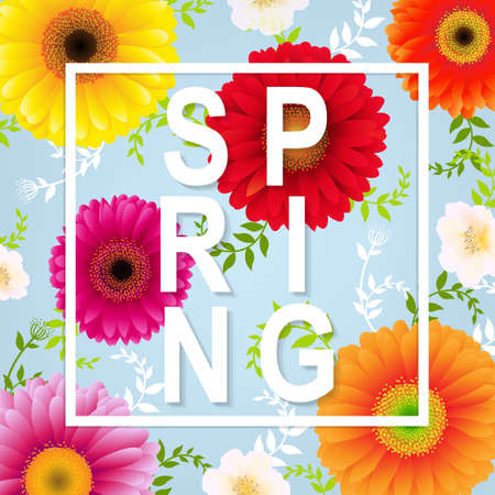 Spring Flower Spring Banner With Gradient Mesh, Vector Illustration Illustration