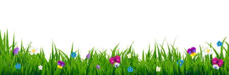 grass blades: Flowers Border With Gradient Mesh, Illustration Illustration