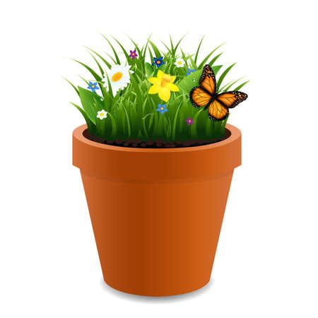 botanist: Flowers In Pot With Gradient Mesh, Vector Illustration