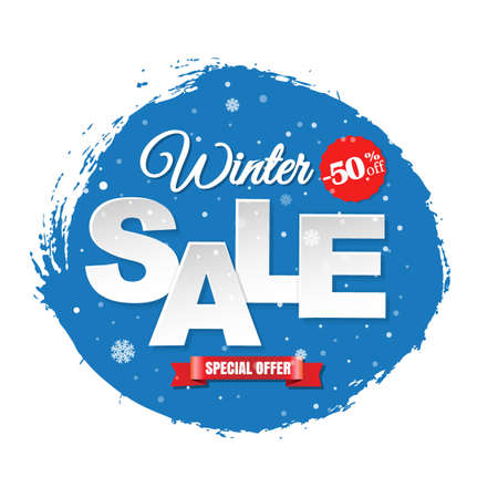 Winter Sale Banner With Gradient Mesh, Vector Illustration Illustration