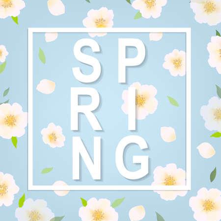Cherry Flower Spring Banner With Gradient Mesh, Vector Illustration Illustration