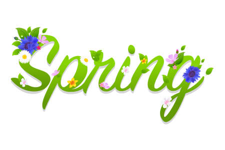 Spring Text With Gradient Mesh, Vector Illustration