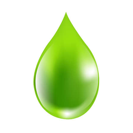 Green Drops With Gradient Mesh, Vector Illustration