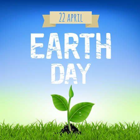 holiday background: Earth Day Card With Young Plant With Gradient Mesh, Vector Illustration