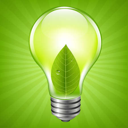Eco Bulb With Gradient Mesh, Vector Illustration