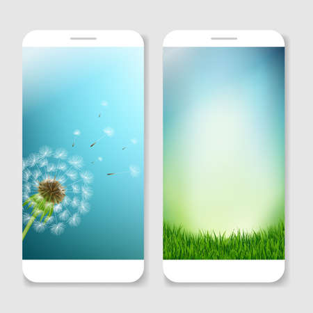 mobile cellular: Mobile Smartphones Template With Gradient Mesh, Vector Illustration Illustration