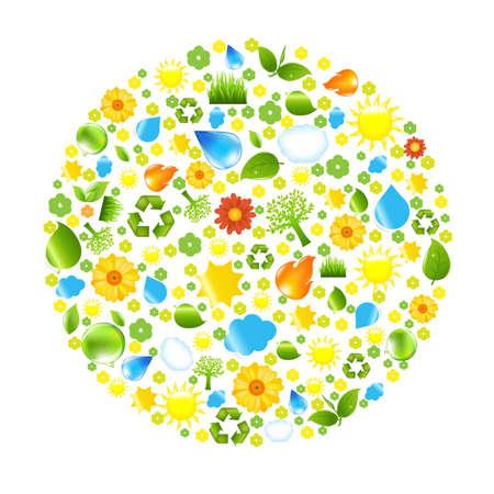 Eco Ball With Gradient Mesh, Vector Illustration Illustration