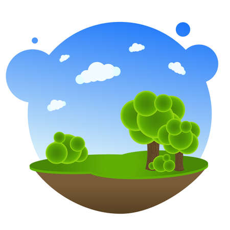 leaf: Cartoon Landscape With Trees, Vector Illustration Illustration