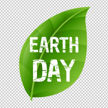 Earth Day Leaf And Transparent Background With Gradient Mesh, Vector Illustration Illustration