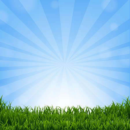 gradient: Grass Border With Sunburst With Gradient Mesh, Vector Illustration